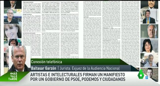 """Baltasar Garzón, sobre el manifiesto por un Gobierno de progreso: """"Creo que hay voluntad del PSOE y PODEMOS"""""""
