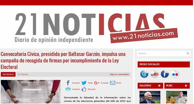Convocatoria Cívica, presidida por Baltasar Garzón, impulsa una campaña de recogida de firmas por incumplimiento de la Ley Electoral