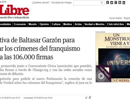 La iniciativa de Baltasar Garzón para investigar los crímenes del franquismo supera ya las 106.000 firmas