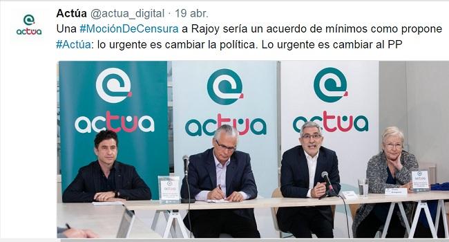 Actúa aplaude el anuncio de Unidos Podemos de promover una moción de censura contra Mariano Rajoy y emplaza a la oposición a dialogar para sacarla adelante
