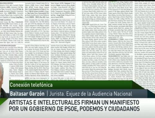 Baltasar Garzón, sobre el manifiesto por un Gobierno de progreso: «Creo que hay voluntad del PSOE y PODEMOS»